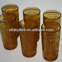 New Products Spray colored glass tumbler cups Anhui glassware factory amber glass cups
