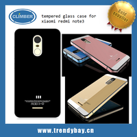 Aluminum Metal Tempered Glass Case back cover for xiaomi redmi note3