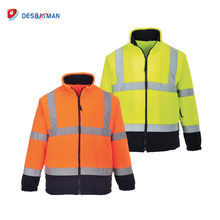 Orange/Yellow High Visibility Two Tone Fluorescent Men's Work Reflective Tape Sweat Jacket Free Size Customized Logo Printing