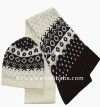 newest fashional design hot popular knitted hat scarf set