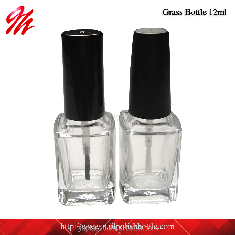 <strong>12</strong> ml Square Empty Glass Nail Polish Bottle