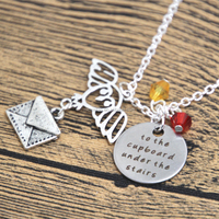 Wizarding School of Magic necklace To the cupboard under the stairs Owl letter Wizard & Witch jewelry crystals HP
