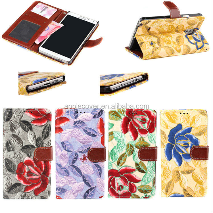 Hot selling Compatible Brand Flower pattern wallet leather case for samsung Galaxy Note3 , for Samsung Note3 cases cover