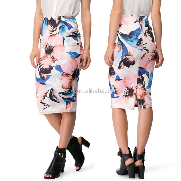Oem service summer wear stretch printed pull on fitted pencil skirts for women