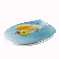 Colorful printed toilet seat soft close