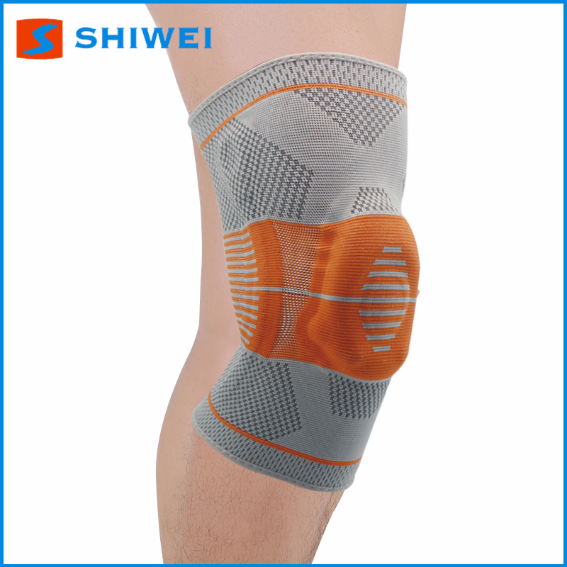 High quality grey and orange nylon silicone spring knee support