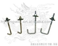 hook bolt with nut and rubber washer,roofing bolt