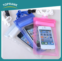 Toprank Customized Personal Underwater Swimming Diving Waterproof Neck Pouch PVC Transparent Cellphone Waterproof Phone Pouch
