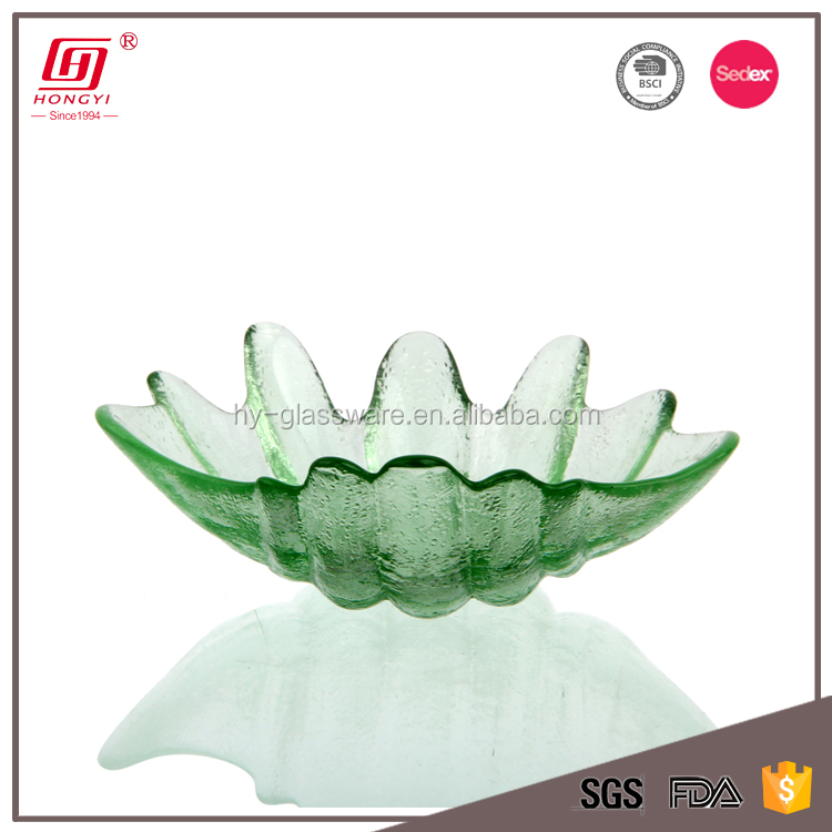 irregular shape glass plate shell shape glass plate with green color