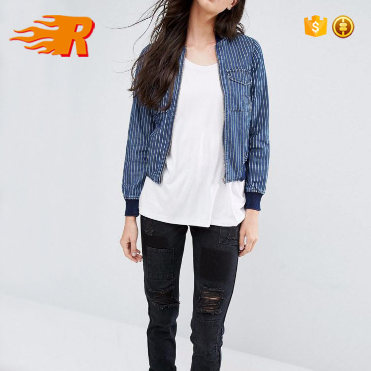 High Reputation Latest Design Striped Fitted Denim Jacket with Ribbing