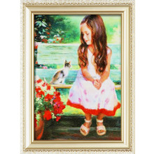 little girl flower and her pet cat picture paint wholesales full diy diamond embroidery painting kit picture for wall art a108
