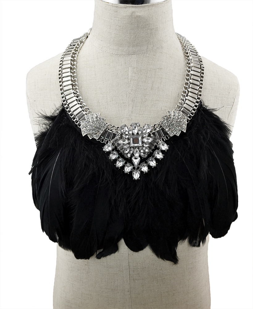 2017 trendy high quality vintage bohemian multi black feather statement necklace for women