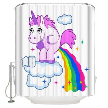 Pink Unicorn Printing High Quality Shower Curtain Cute Shower Curtain Waterproof Shower Curtain