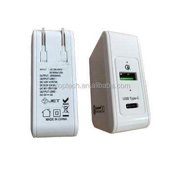 Type C and QC 3.0 ul usb wall charger