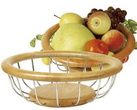 environmental kitchen bamboo and metal fruit basket