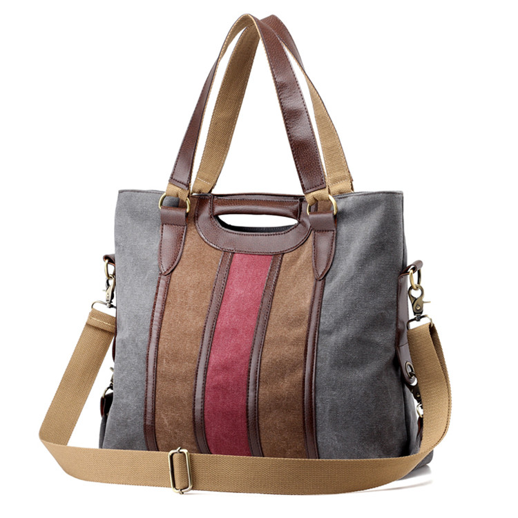 Colorful ladies casual vintage travelling canvas tote bag with customise logo shoulder bag