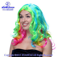 2015 Hot sale cheap synthetic hair multi color wigs long wavy wig for women