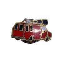 Unique made metal red van with white dog with telescope badges