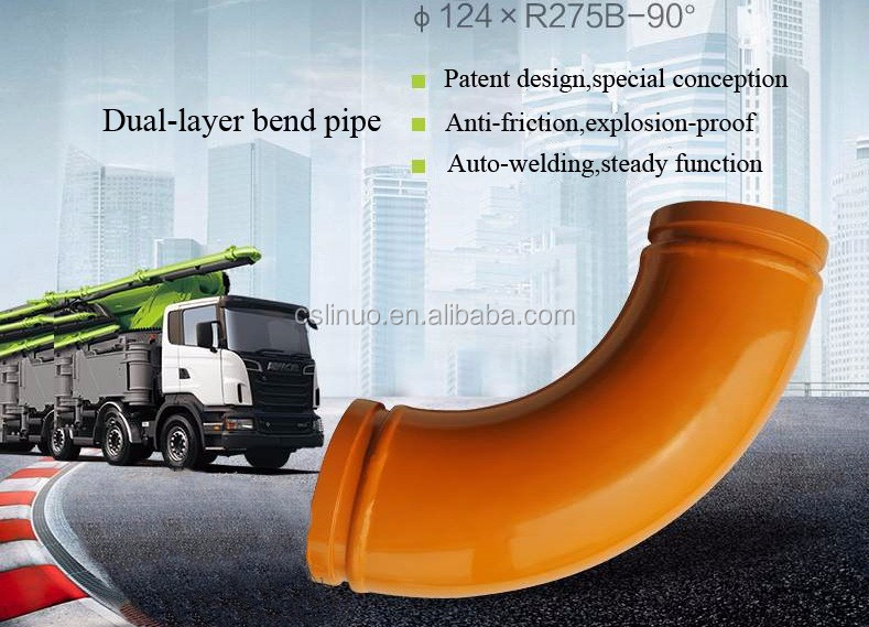 spare parts zoomlion crane of dual-layer bend pipe of central machinery cement mixer parts