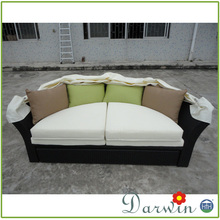Patio rattan wicker sofa daybed with canopy