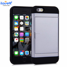 Newest hard slim armor back case for iphone6 with slide card slot