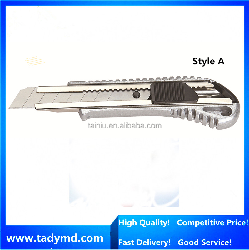 Hot selling 18mm blade cutter knife/ Aluminium alloy handle Muti Utility knife/outdoor camping knife