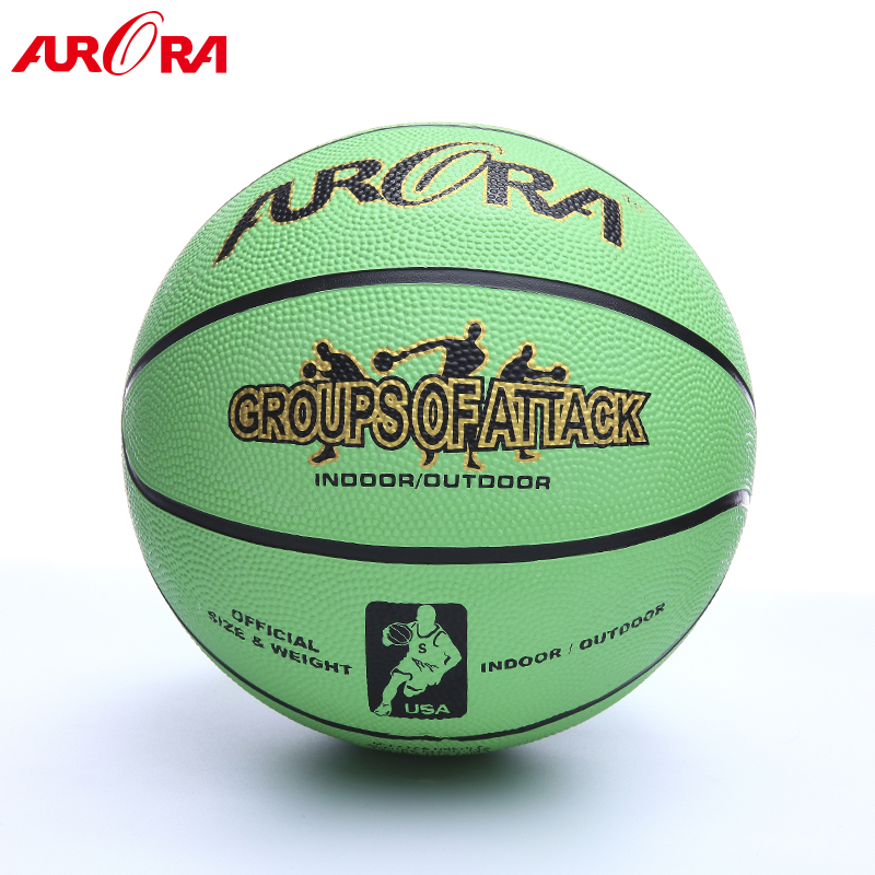 Popular Green custom rubber basketball  Size 7 outdoor play ball