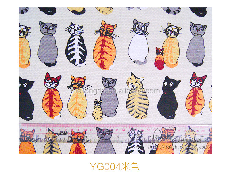 Canvas Fabric Fashion 2017 latest Reusable Leisure Bag Carton Cat Printed T/C Canvas Fabric