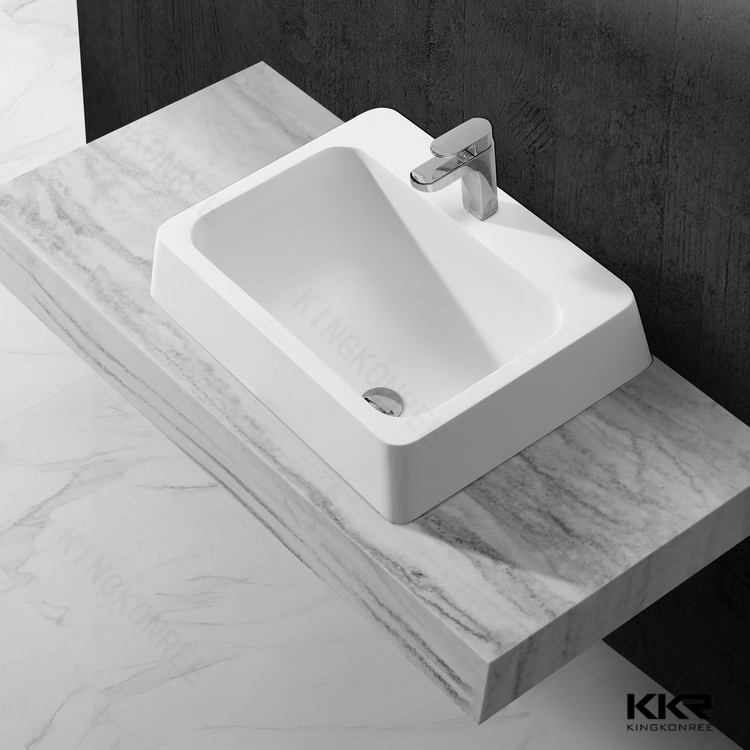 Modern modified acrylic artificial marble hand carved kitchen wash basin