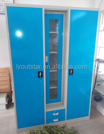 The latest hot selling steel iron chest door design Indian home closet design rich and colorful