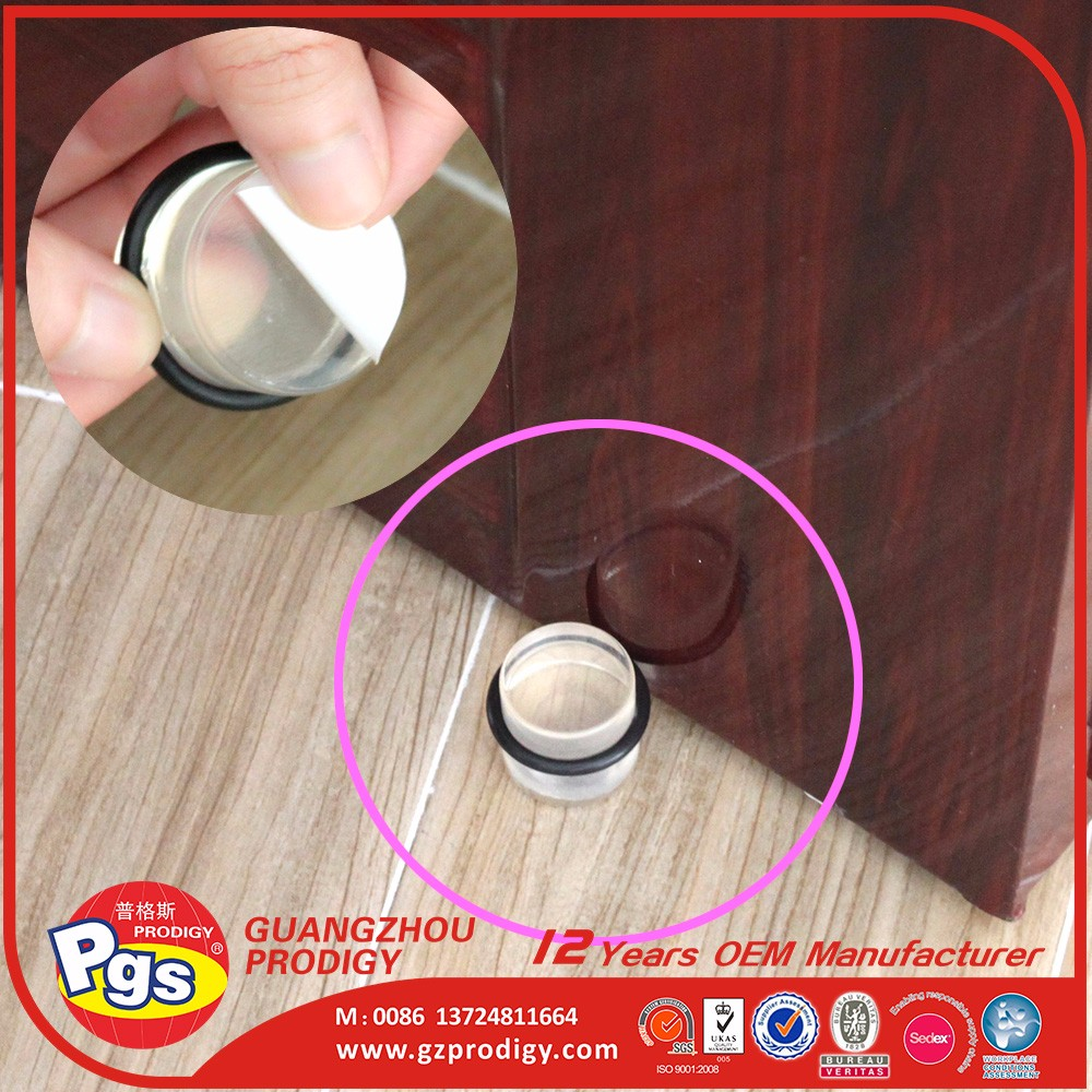 Transparent sliding door stopper with rubber ring