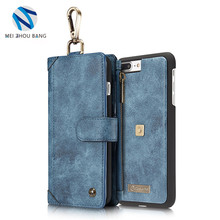 PU leather hanging buckle zipper wallet separable back cover mobile phone case for iPhone and samsung