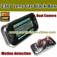 super wide 1080P HD dual camera 230 degree car mini camcorder with G-sensor,H.264,Motion detection