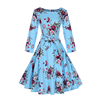 Drop Shipping light blue flower o neck autumn clothes ladies women plus size dress