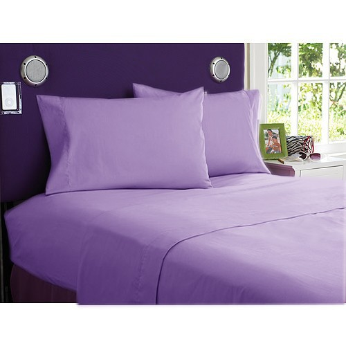 4- PCs Sheet Set Twin Size lilac solid 100% Egyptian Cotton 400 thread count