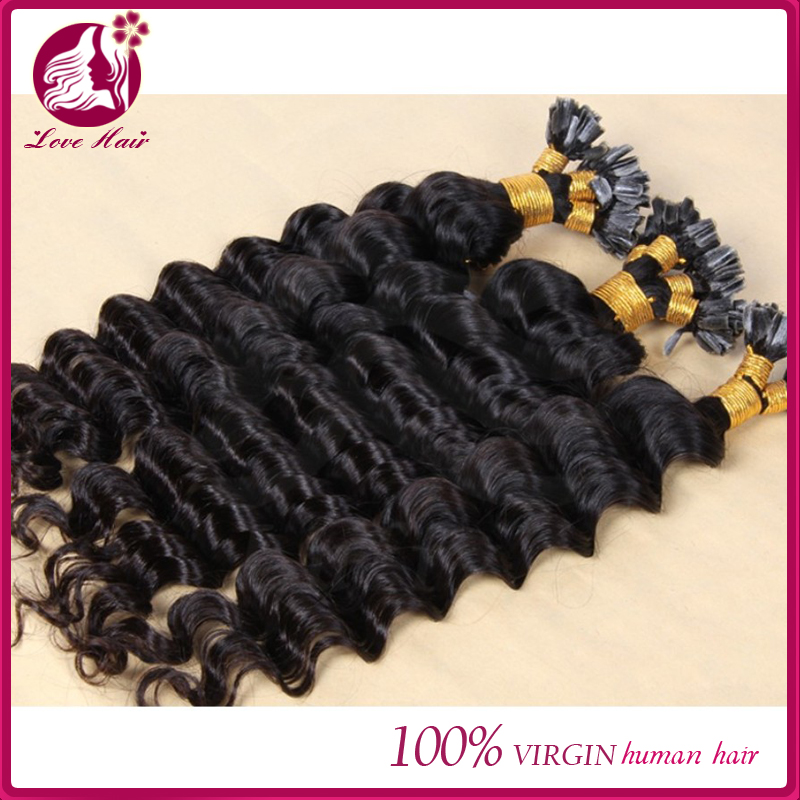 "10""-32""Available nail / u tip hair extensions 1g/strand deep wave 100% virgin brazilian hair u tip human hair extensions"
