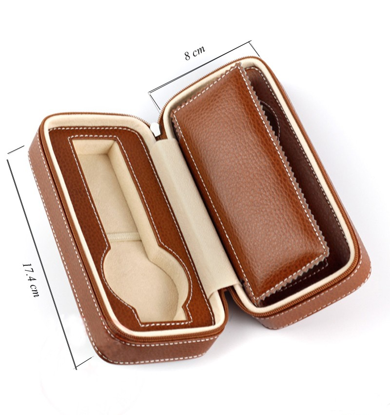 Custom wholesale portable carrying storage mens luxury PU leather watch box