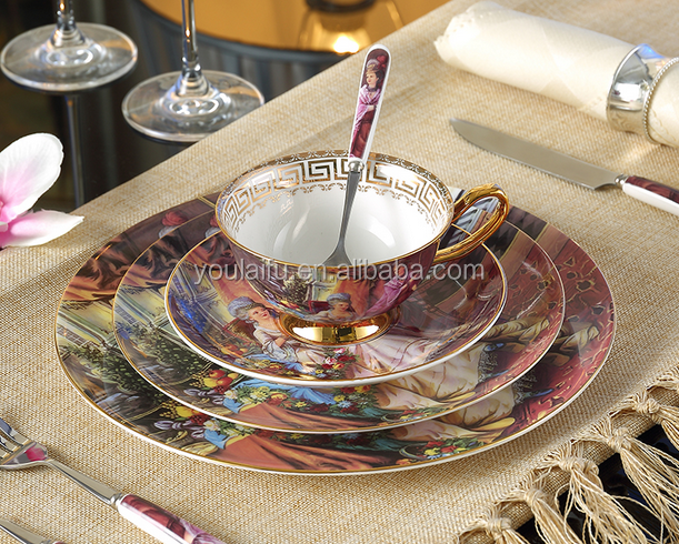 4pcs dinner ware table service plate with coffee cup and saucer fine bone china