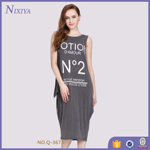 Offset Print Loose Fit Ladies Designers Cotton Dresses for Women Sleeveless