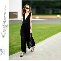 High Quality Small Fragrant European fashion women's chiffon jumpsuit Ultra-wide-leg trousers