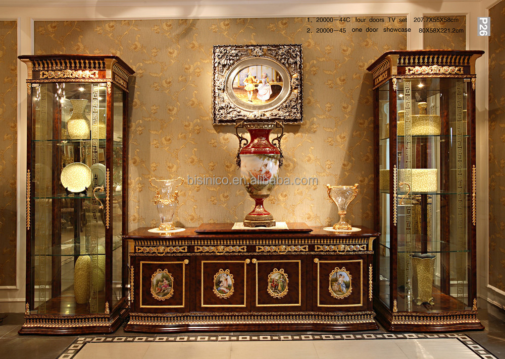 Luxury French New Classic Living Room Furnitur TV Cabinet Set/ Elegant Hand Carved Antique Home TV Cabinet & Display Cabinet
