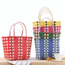 Bamboo split Plaid Design Waterproof Basket Shopping <strong>Totes</strong>
