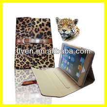 Luxury Panther Leopard Leather Case for iPad mini Smart Cover with Buckle Button Belt Clip Stand Wholesale Tablet Cases 2