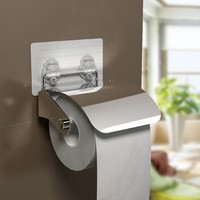 Stainless steel wall mounted adhesive toilet paper holder,bathroom toilet towel paper rack