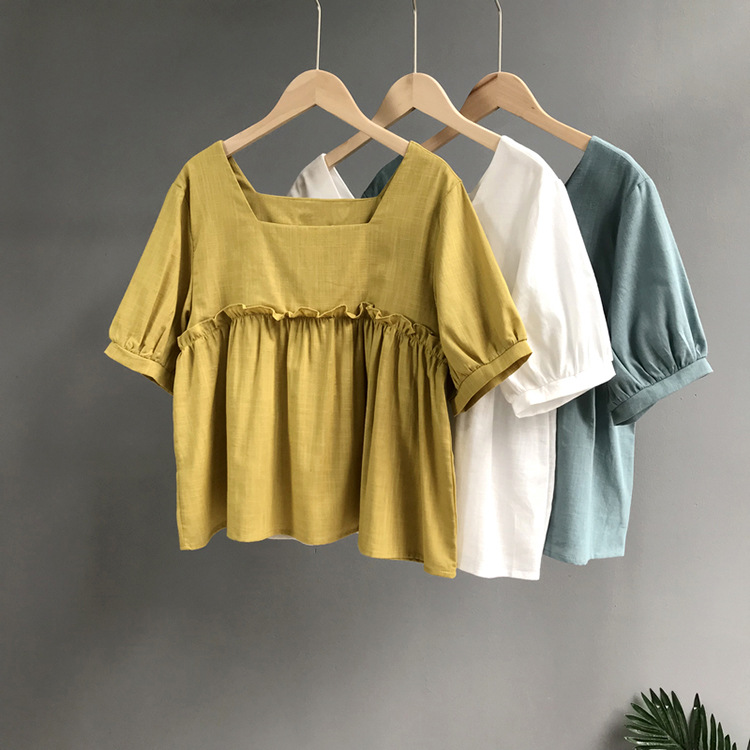 Simple design solid color short sleeve cotton and linen women t shirt