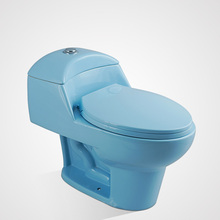 Porcelain High Quality Soft Close One Piece Wc Toilet Light Blue