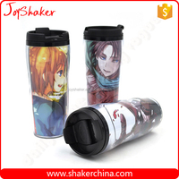 Photo Insert Plastic Coffee Mug,Double Wall 350ML Plastic Coffee Mug with Lid