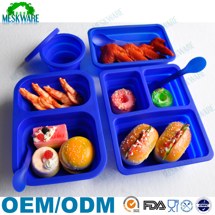 FDA BPA free 3-compartment bento lunch box containers, silicone folding lunch box, kitchen silicone lunch box
