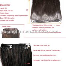 100%human hair various color.weight.texture,length clip hair extension