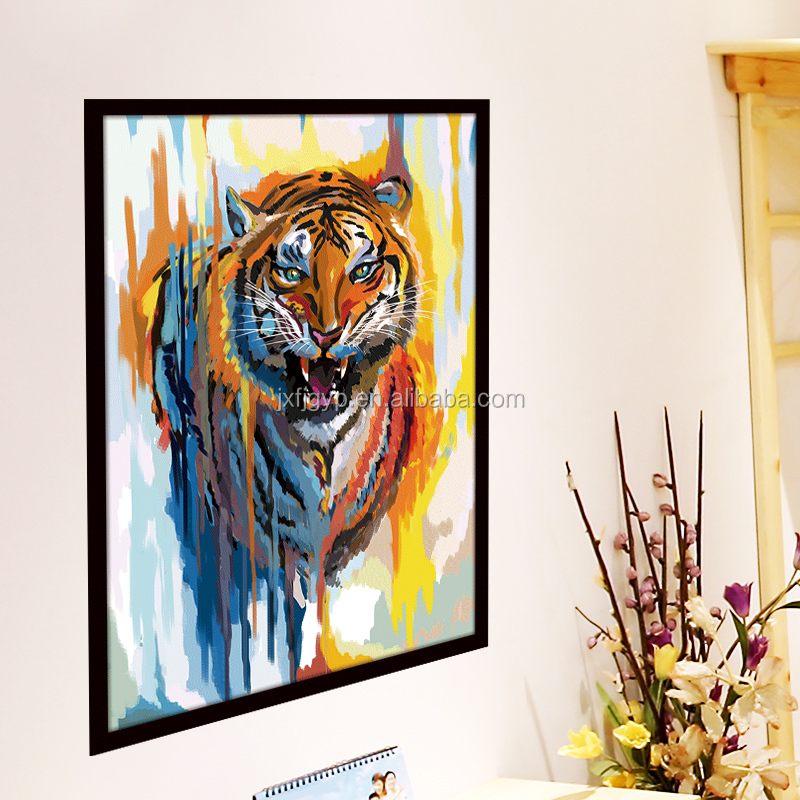 Wholesale cheap oil painting colorful tiger living room DIY decor wall sticker animal